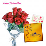 Special for Mummy - Bunch of 12 Red Roses, Celebration and Card