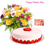 Strawberry Treat - 150 Assorted Flowers, 1 kg Strawrbery Cake and Card