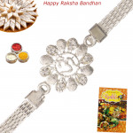 Om Floral Diamond Silver Rakhi