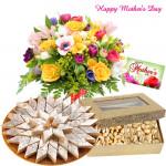 Sweet Crunchy Delight - 12 Mix Flowers in Bunch, Kaju Katli 250 gms, Cashew n Pista 200 gms and Card