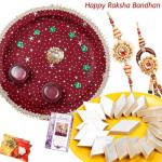 Sweet Moments Pair Thali - Puja Thali (M), Kaju Katli with Bhaiya Bhabhi Rakhi Pair and Roli-Chawal