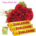 Sweet Gift - 15 Red Roses Bouquet, 3 Toblerone and Card