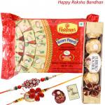 Soan Papdi with Ferrero - Soan Papdi, Ferrero Rocher 4 Pcs with 2 Rakhi and Roli-Chawal