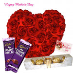 Sweet Heart Mom - 30 Red Roses Heart, 2 Dairy Milk, Ferrero Rocher 4 Pcs and Card