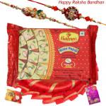 Soan Papdi Decoration - Haldiram Soan Papdi, Decorative Thali (R) with 2 Rakhi and Roli-Chawal