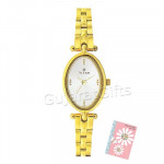 Titan Golden Watch White Dial and Card