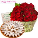 Thank You Mom - 15 Red Roses Basket, 250 gm Kaju Katli and Card