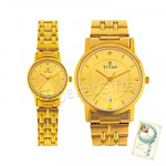 Titan Bandhan Watch Yellow Dial Gold Strap
