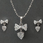 Bow Solitaires Pendant Set