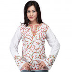 White and Red Kashmiri Embroidered Kurti