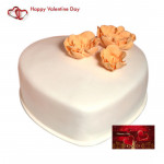 Buttery Heart - 1 Kg Butter Scotch Heart Shape Cake & Valentine Greeting Card