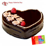 Heart Of Love - 1 Kg Chocolate Truffle Heart Shape Cake & Valentine Greeting Card
