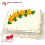 Lavish Square Cake - 1 Kg Vanilla Cake Square Shape (Five Star Bakery) & Valentine Greeting Card