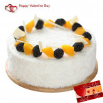 White Cake - 1 Kg White Forest Cake (Five Star Bakery) & Valentine Greeting Card