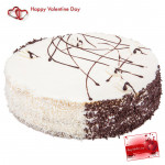Big White Cake  - 1.5 Kg White Forest Cake & Valentine Greeting Card