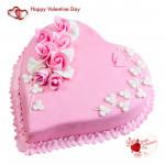 Berry Love - 1.5 Kg Strawberry Heart Cake & Valentine Greeting Card