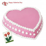 Strawberry Heart - 2 Kg Strawberry Heart Cake & Valentine Greeting Card