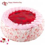 Big Strawberry Cake - 1.5 Kg Strawberry Cake & Valentine Greeting Card