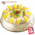 Pina Cake - 2 Kg Pineapple Cake & Valentine Greeting Card