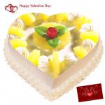 Pine Heart Cake - 2 Kg Pineapple Heart Cake & Valentine Greeting Card