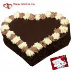 Choco Heart Cake - 1.5 Kg Chocolate Cake Heart Shapped & Valentine Greeting Card