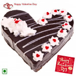 Black Heart Cake - 1.5 Kg Black Forest Heart Shaped Cake & Valentine Greeting Card