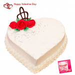 Vanilla Heart - 1.5 Kg Vanilla Heart Shaped Cake & Valentine Greeting Card