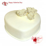 Big Vanilla Heart - 2 Kg Vanilla Heart Shaped Cake & Valentine Greeting Card