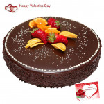 Choco Luxury - 1 Kg Chocolate Cake (Five Star Bakery) & Valentine Greeting Card