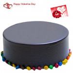 Choco Royalty - 1.5 Kg Chocolate Cake (Five Star Bakery) & Valentine Greeting Card