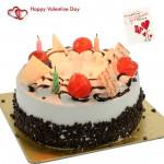 Grand Black Forest - 1.5 Kg Blackforest Cake (Five Star Bakery) & Valentine Greeting Card