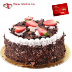 Royal Black Forest - 2 Kg Blackforest Cake (Five Star Bakery) & Valentine Greeting Card