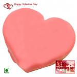 Straw Heart - Strawberry Heart Cake 1.5 Kg (Eggless) & Valentine Greeting Card