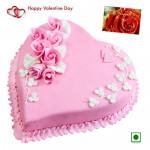 Big Straw Heart - Strawberry Heart Cake 2 Kg (Eggless) & Valentine Greeting Card