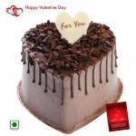 Big Choco Heart - 2 Kg Chocolate Cake Heart Shapped (Eggless) & Valentine Greeting Card
