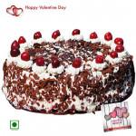Black Forest Cake - 1.5 Kg Black Forest Cake (Eggless) & Valentine Greeting Card