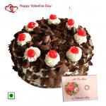 Black Delight - 2 Kg Black Forest (Eggless) & Valentine Greeting Card