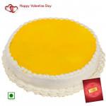 Pine Time - 1.5 Kg Pineapple Cake (Eggless) & Valentine Greeting Card
