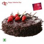 Choco Chocolaty - 1.5 Kg Chocolate Cake (Eggless) & Valentine Greeting Card