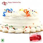 Vanilla Cake - 1.5 Kg Vanilla Cake (Eggless) & Valentine Greeting Card