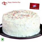 Big Vanilla Treat - 2 Kg Vanilla Cake (Eggless) & Valentine Greeting Card