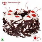 Black Forest Treat - 1.5 Kg Black Forest Cake (Eggless) & Valentine Greeting Card