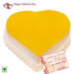 Pine Heart Love - 1 Kg Pineapple Cake Heart Shaped (Eggless) & Valentine Greeting Card