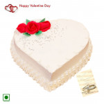 Vanilla Heart Love - 1 Kg Vanilla Cake Heart Shaped (Eggless) & Valentine Greeting Card