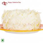 White Heart - 1 Kg White Forest Cake Heart Shaped (Eggless) & Valentine Greeting Card