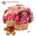 Burst Of Love - 10 Exotic Flowers Basket + Teddy + Card