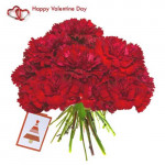 Bunch of Magic - 12 Red Carnations Bouquet + Card