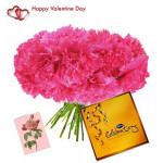 Beauty of Pink - 15 Pink Carnations Bouquet + Cadbury's Celebrations + Card