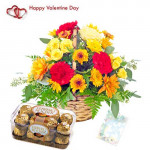 Full of Surprise - 20 Mix Carnations Basket + Ferrero Rocher 16 pcs + Card