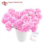 Lovely Carnations - 12 Pink Carnations in a Vase + Card